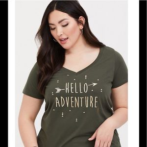 Torrid OLIVE HELLO ADVENTURE SLIM FIT T-shirt